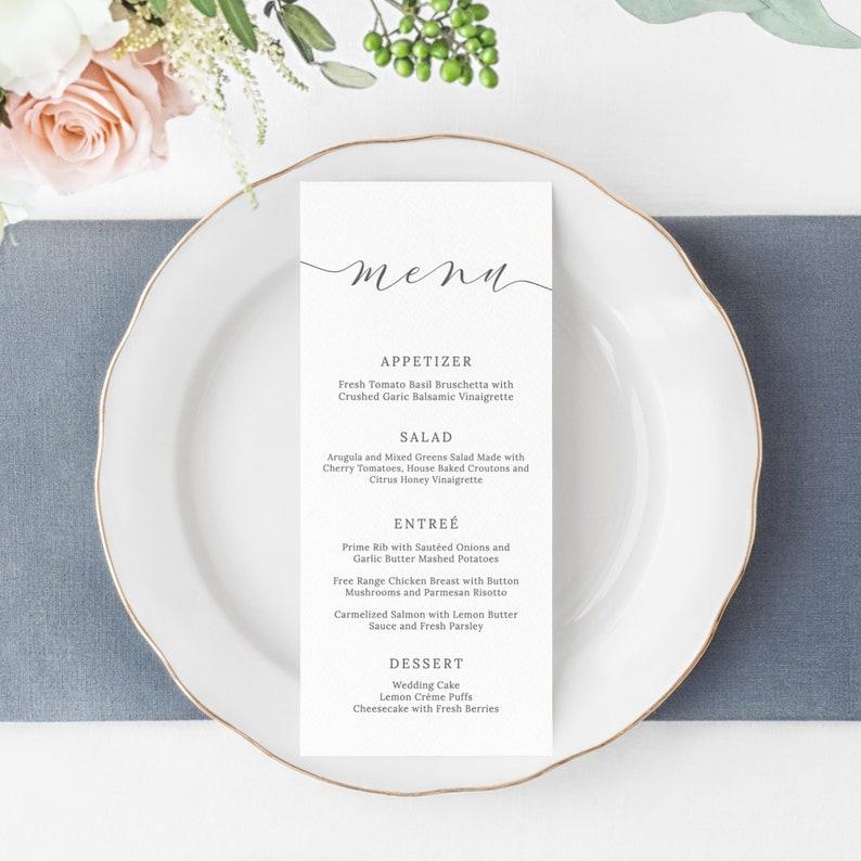 Emelia  Wedding Menu Template Elegant Script Wedding Menu image 0
