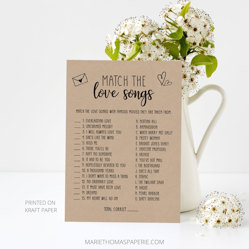 Match the Love Songs Bridal Shower Games Printable Rustic image 0
