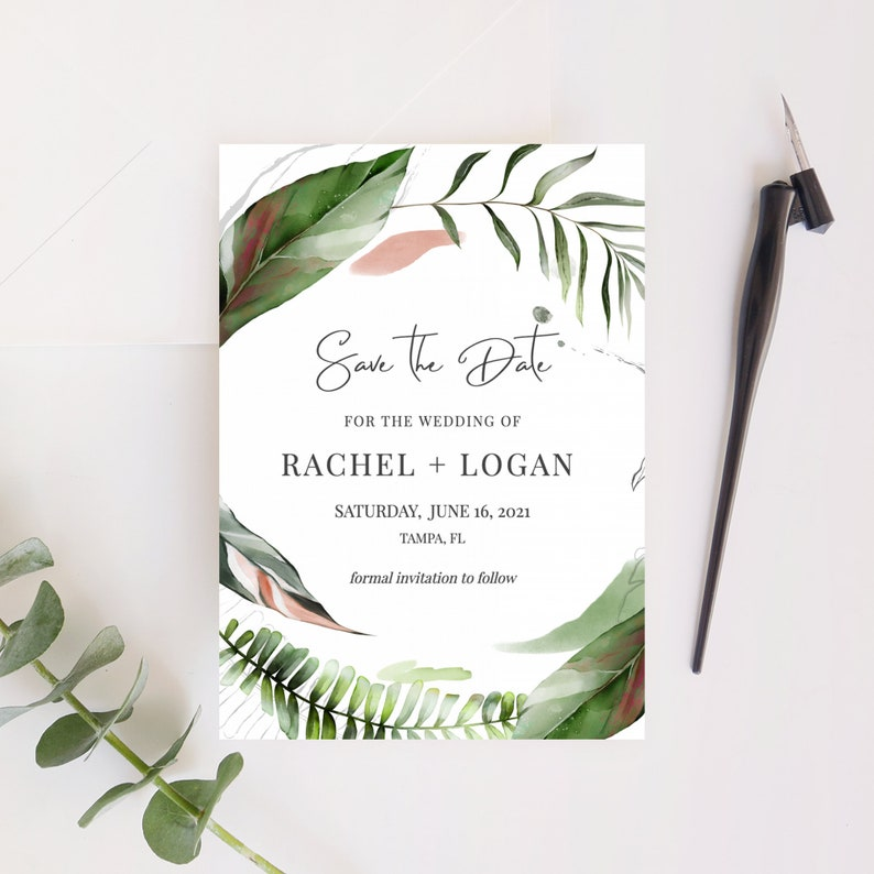 Tropical Save the Date Template Palm Leaves Save the Date image 0