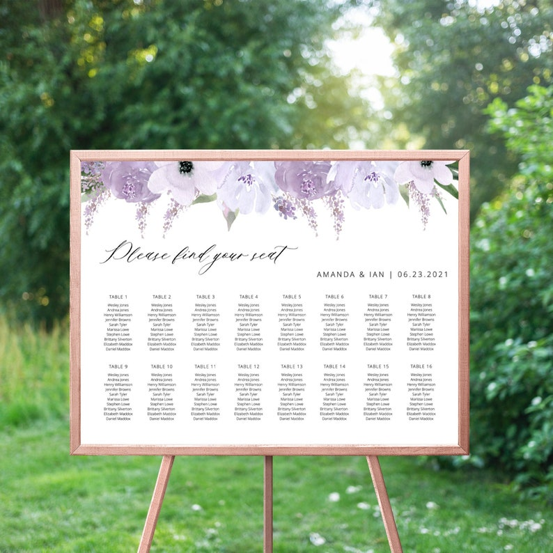 Lillian  Lavender Floral Seating Chart Template Horizontal image 0