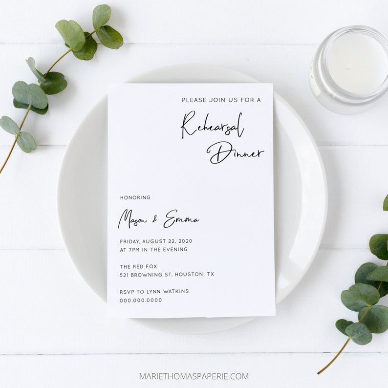 Minimalist Rehearsal Dinner Invitation Modern Simple Elegant image 0