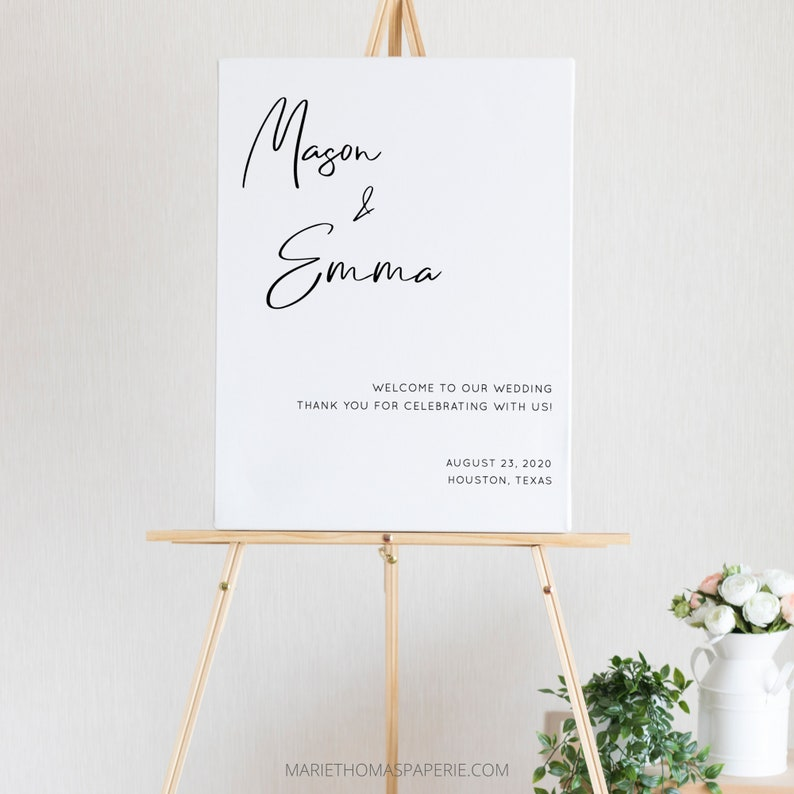 Lillie  Modern Wedding Welcome Sign Welcome to our Wedding image 0