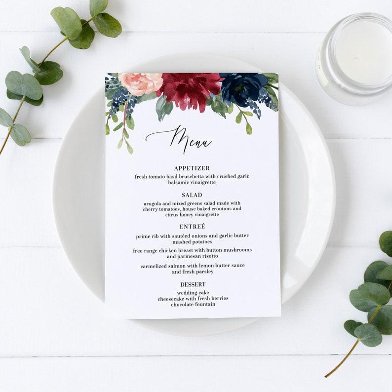 Mara  Wedding Menu Template Burgundy & Navy Floral Wedding image 0