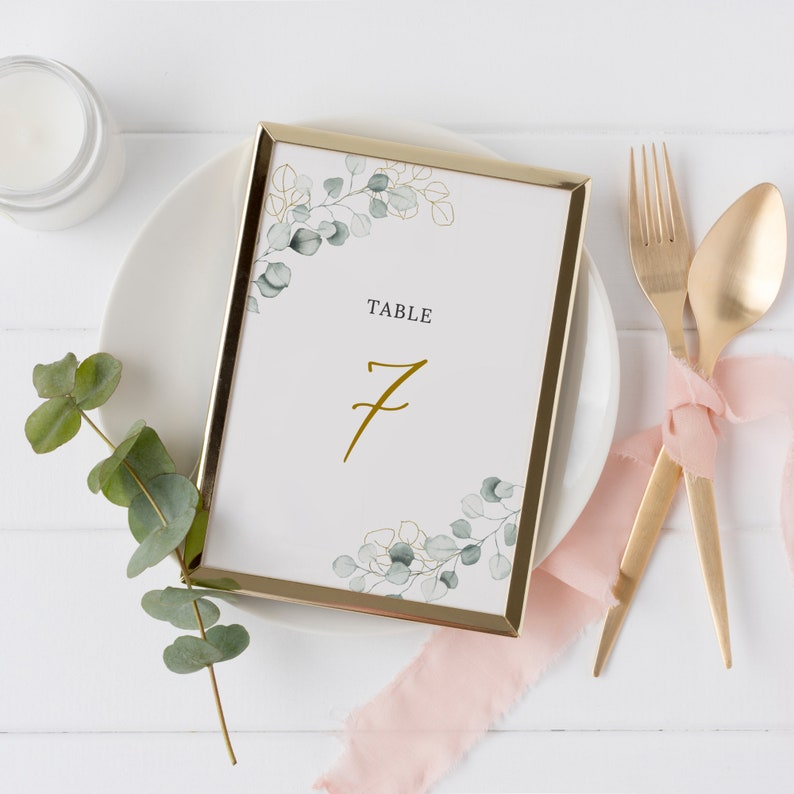 Greenery and Gold Wedding Table Number Template Editable Template 5x7 and 4x6 Instant Download Eucalyptus Table Number Card Lola