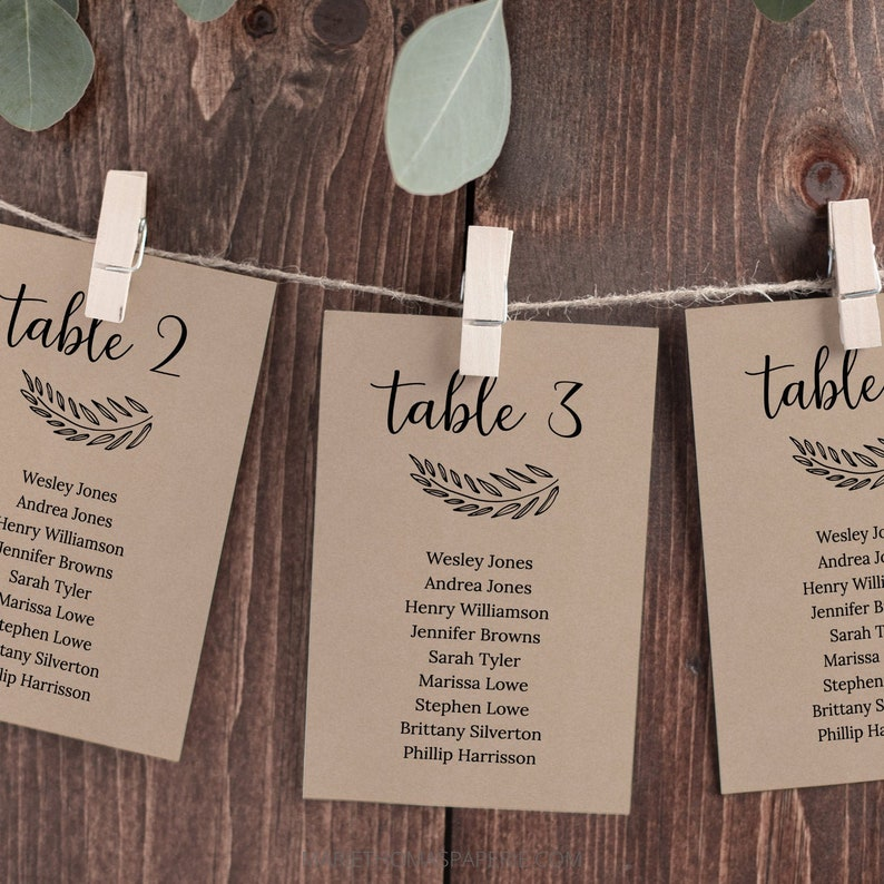 Modern Script Wedding Seating Chart Template Wedding Table image 0