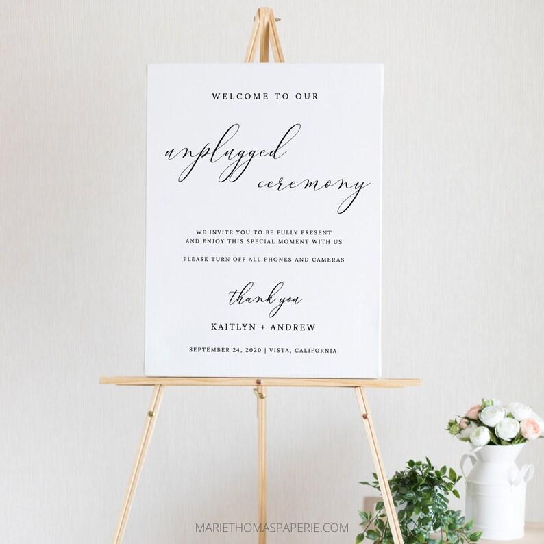 Elegant Unplugged Wedding Sign Wedding Welcome Sign Simple image 0