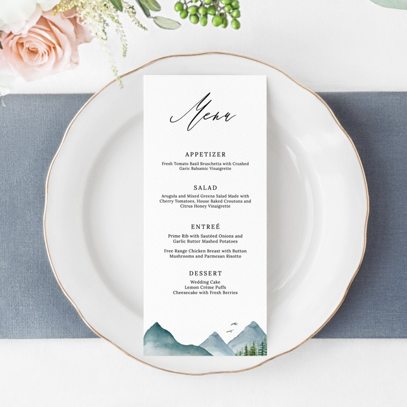 Clara  Mountain Wedding Menu Template Rustic Pine Wedding image 0