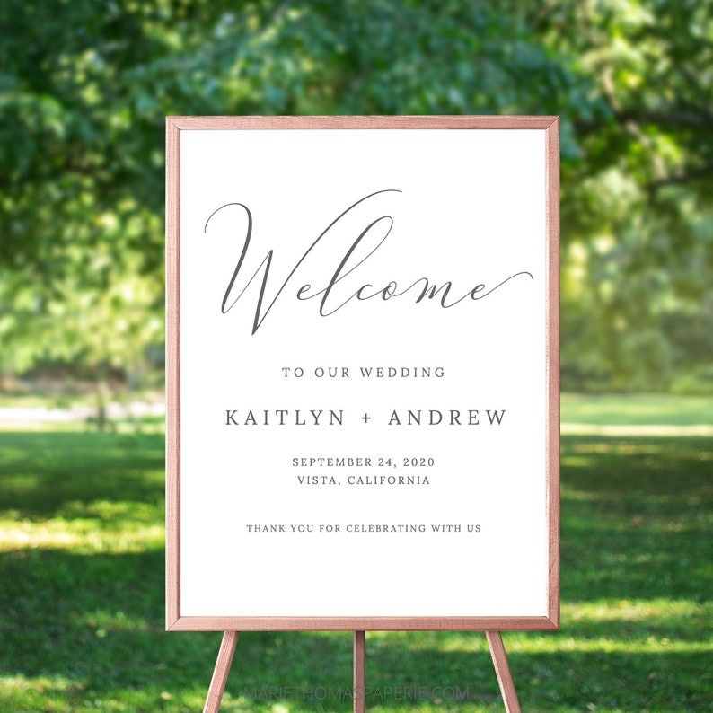 Modern Wedding Welcome Sign Welcome to our Wedding Sign image 0