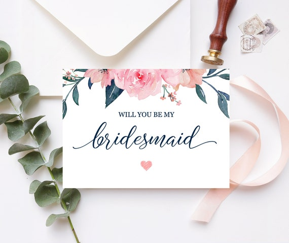 graphic regarding Bridesmaid Proposal Printable named Bridesmaid Proposal Card Will By yourself Be My Bridesmaid Card Floral Bridesmaid Card Maid of Honor Proposal Purple Army Printable 100-03BP