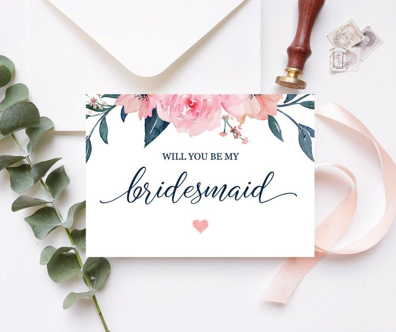 Bridesmaid Proposal Card Maid of Honor Proposal Floral Pink Navy Will You Be My Bridesmaid Card Printable 100-03BP