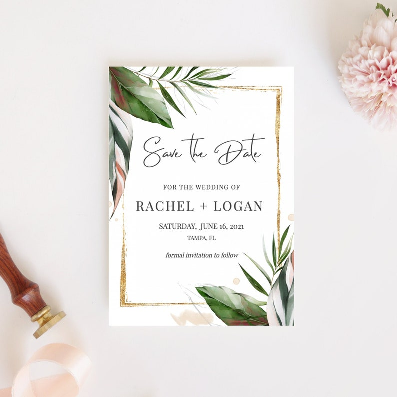 Save the Date Template Palm Leaves Tropical Save the Date image 0