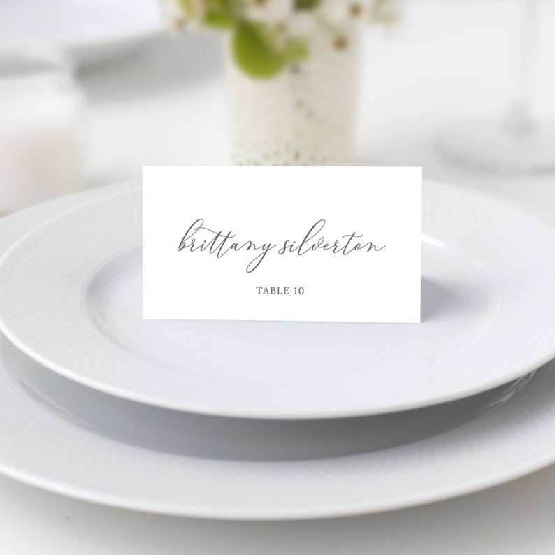 Emelia  Elegant Script Wedding Place Card Template Wedding image 0