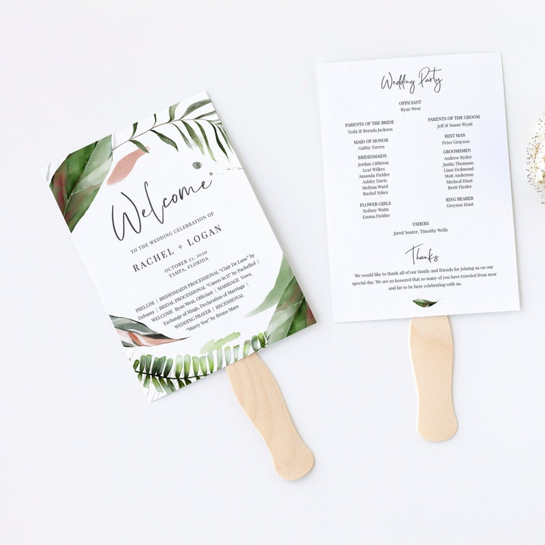 Malie  Tropical Wedding Program Fan Template Beach Palm image 0