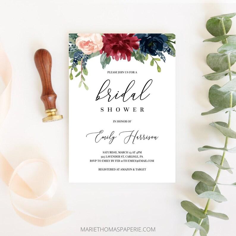 Bridal Shower Invitation Burgundy & Navy Floral Bridal Shower image 0