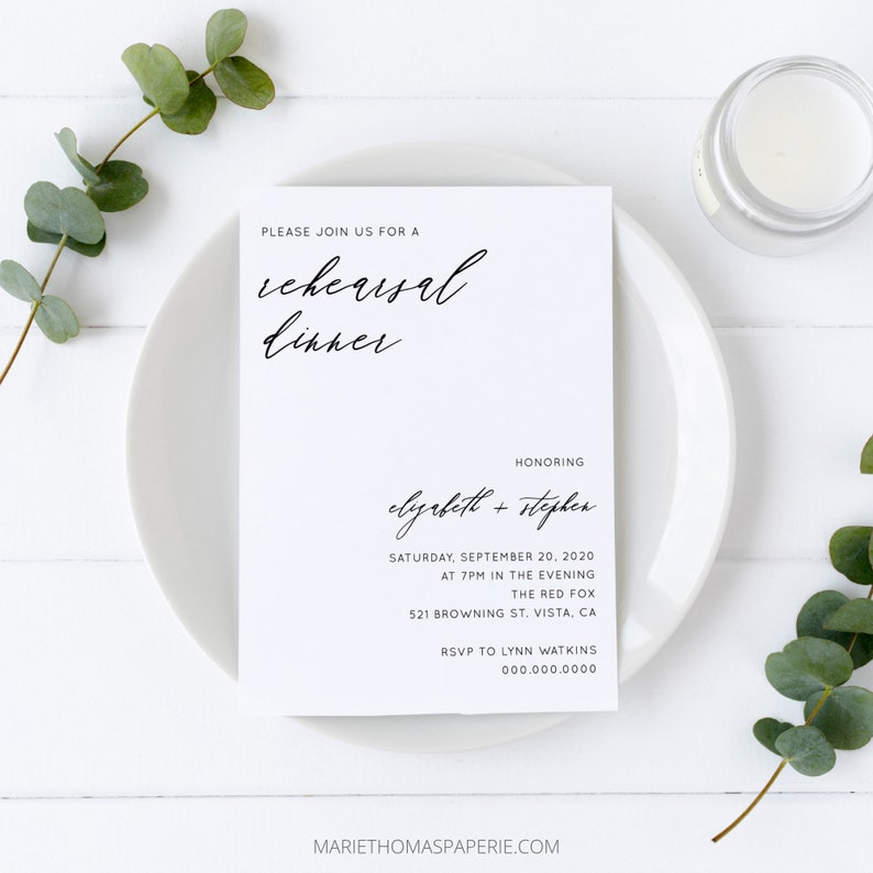 Eva  Minimalist Rehearsal Dinner Invitation Simple Modern image 0