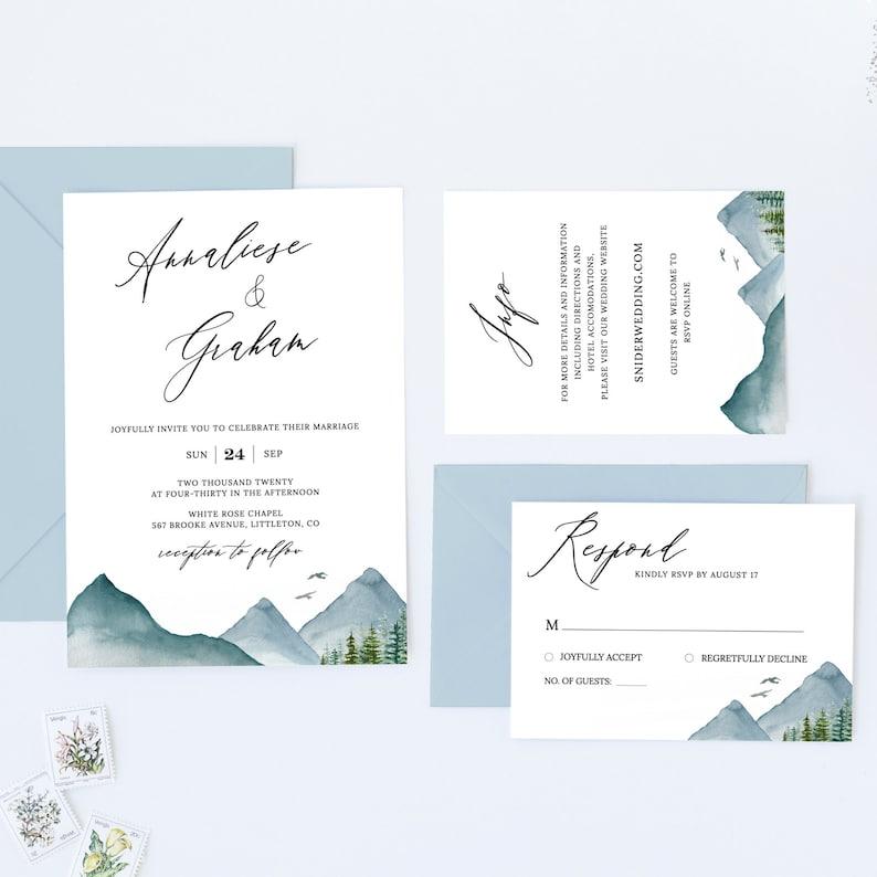 Clara  Mountain Wedding Invitation Template Download Rustic image 0