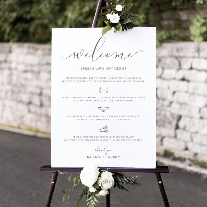 Emelia  Wedding Safety Rules Sign Wedding Welcome Sign image 0