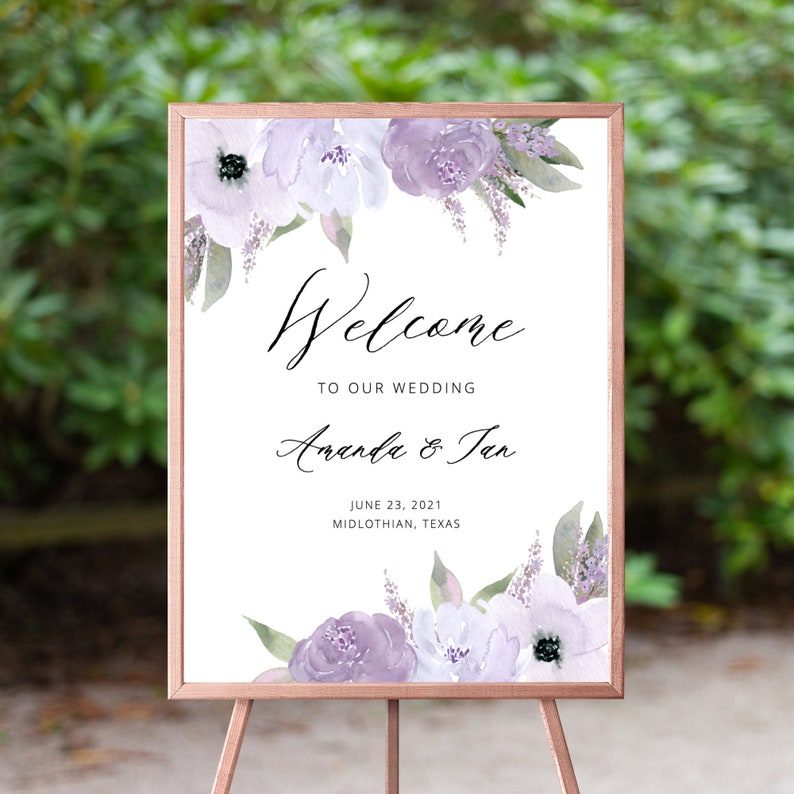 Lillian  Lavender Wedding Welcome Sign Welcome to our image 0