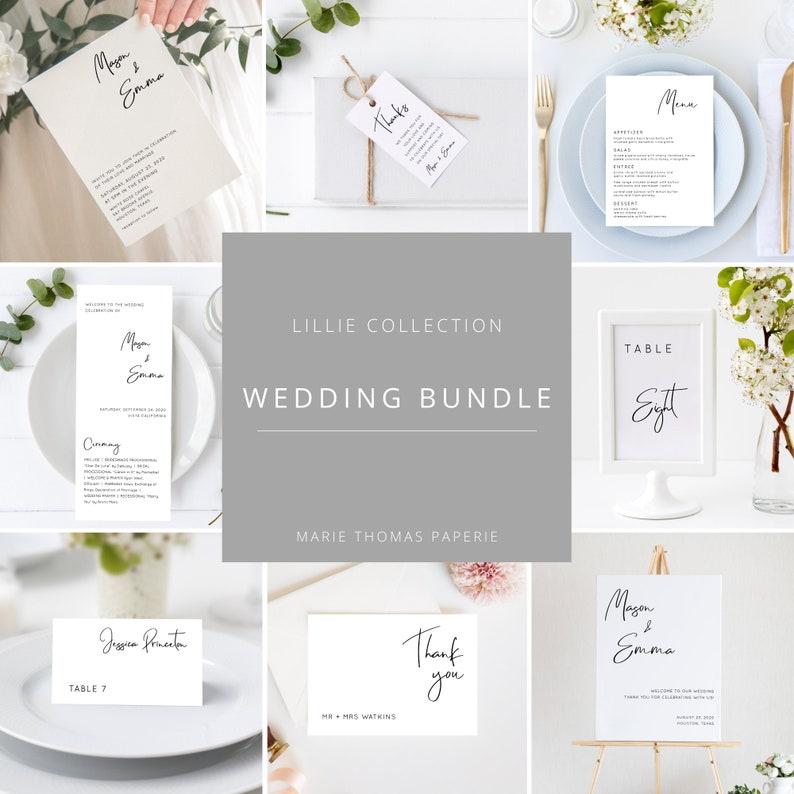 Lillie  Modern Wedding Template Bundle Minimalist Wedding image 0