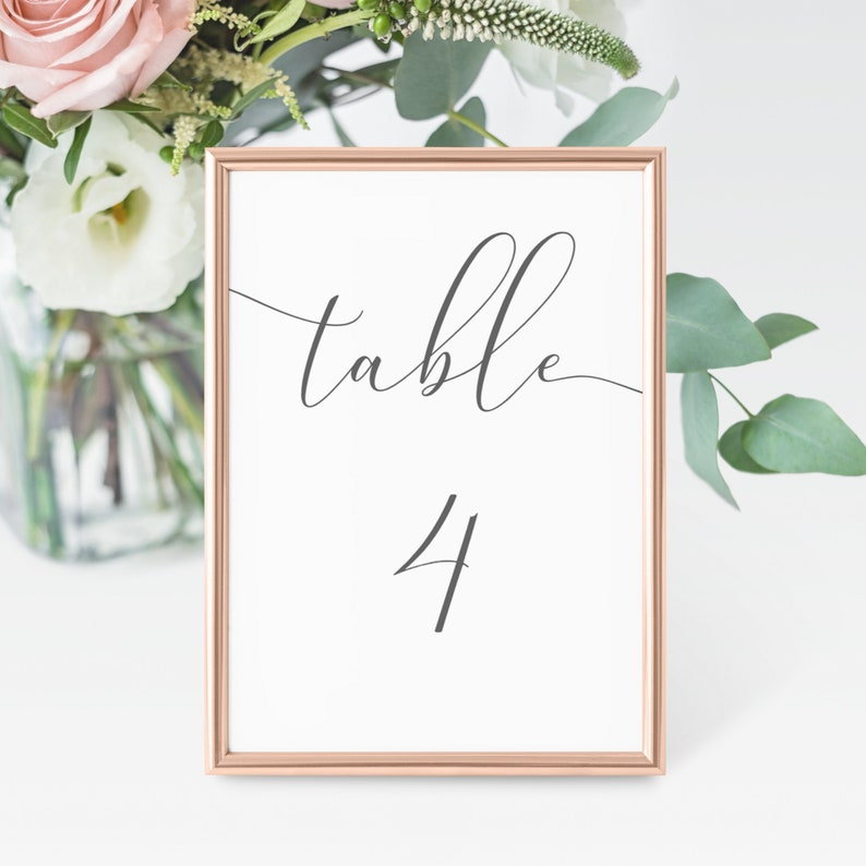 Emelia  Wedding Table Number Template Elegant Script Table image 0