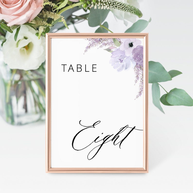 Lillian  Wedding Table Number Template Floral Lavender Table image 0