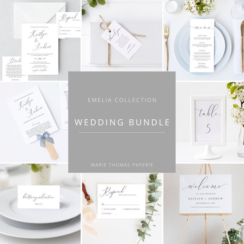 Emelia  Elegant Script Wedding Template Bundle Wedding image 0