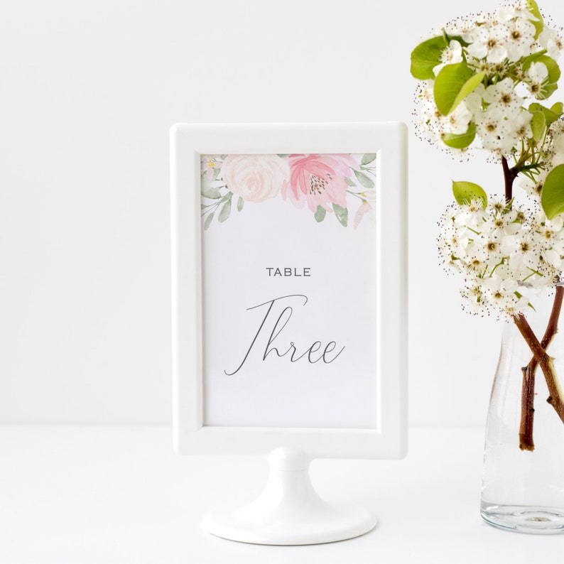 Alena  Wedding Table Number Template Blush Floral Table image 0