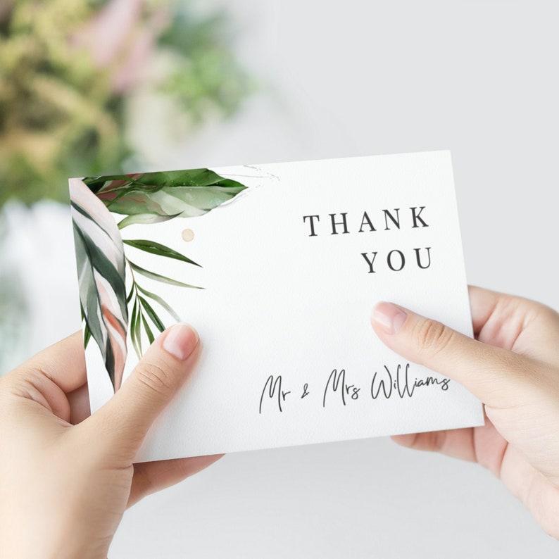 Malie  Elegant Tropical Wedding Thank You Cards Printable image 0
