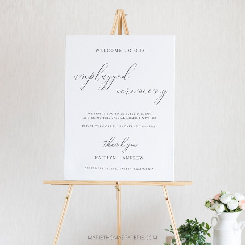 Elegant Unplugged Wedding Sign Wedding Welcome Sign Simple image 0