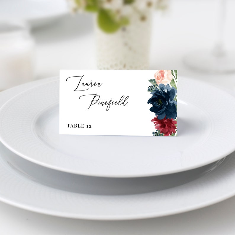 Mara  Burgundy & Navy Floral Wedding Place Card Template image 0