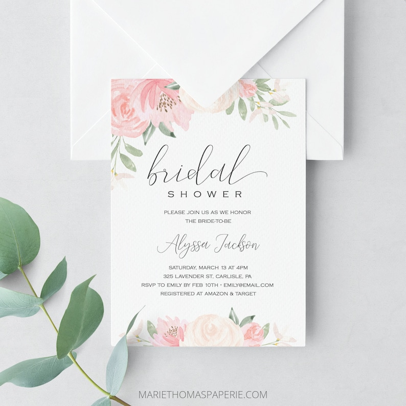 picture about Bridal Shower Invitations Printable named Bridal Shower Invitation, Printable Bridal Shower Invite, Floral Invitation Template, Blush Red Bridal Shower, Fast Down load 103-01BS