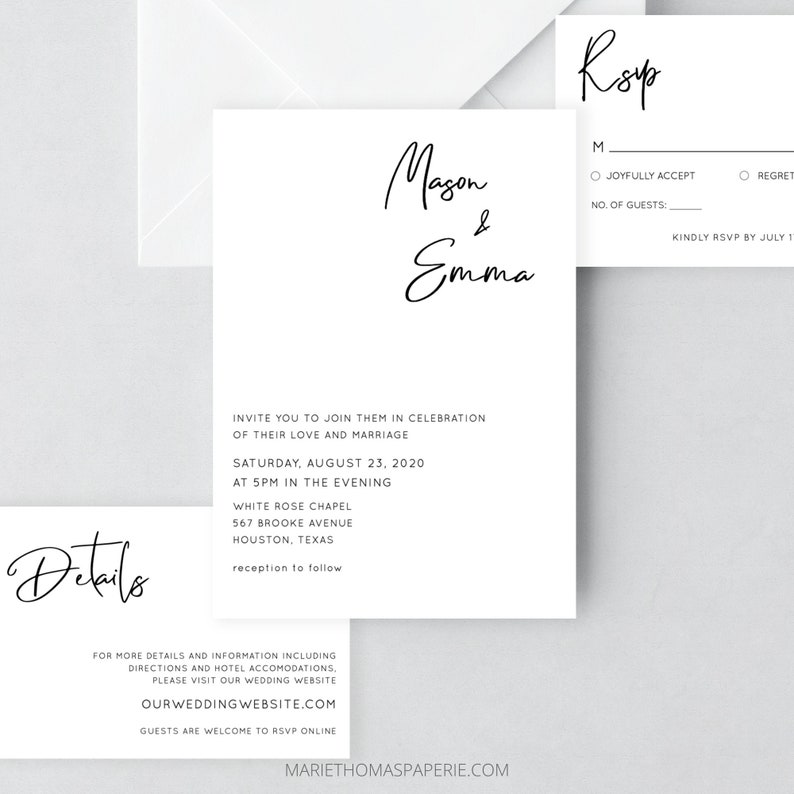 Modern Wedding Invitation Template Download Minimalist image 0