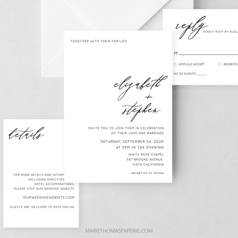 Wedding Invitation Template Download Minimalist Modern image 0
