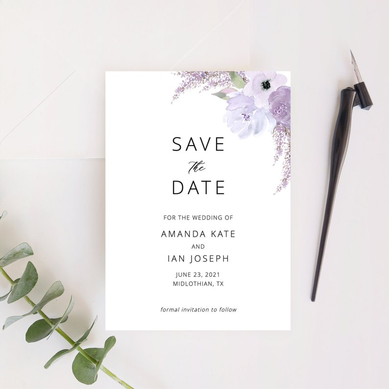Lillian  Save the Date Template Lavender Floral Save the image 0