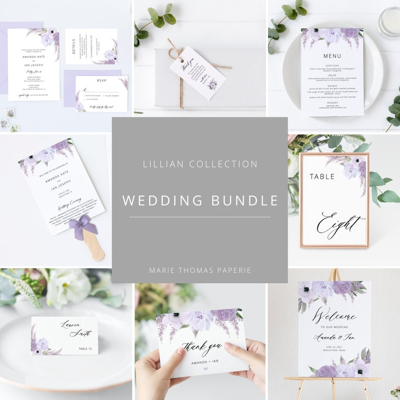 Lillian  Lavender Wedding Template Bundle Purple Wedding image 0