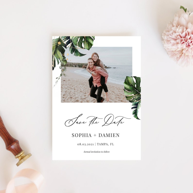 Save the Date Template with Photo Tropical Save the Date image 0