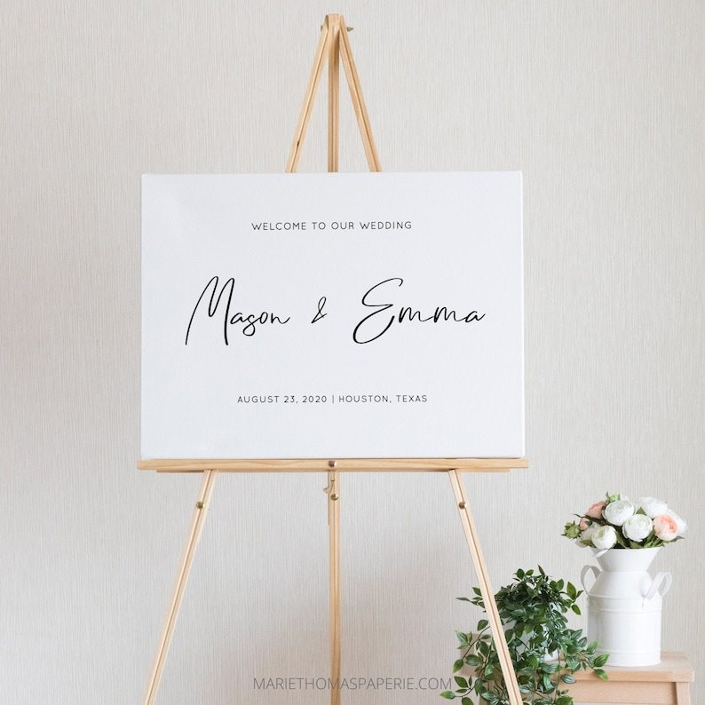 Wedding Welcome Sign Welcome to our Wedding Sign Modern image 0