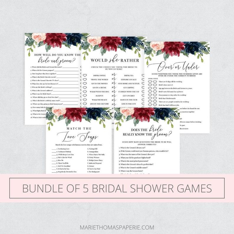 Bridal Shower Games Bundle Bridal Shower Games Printable image 0