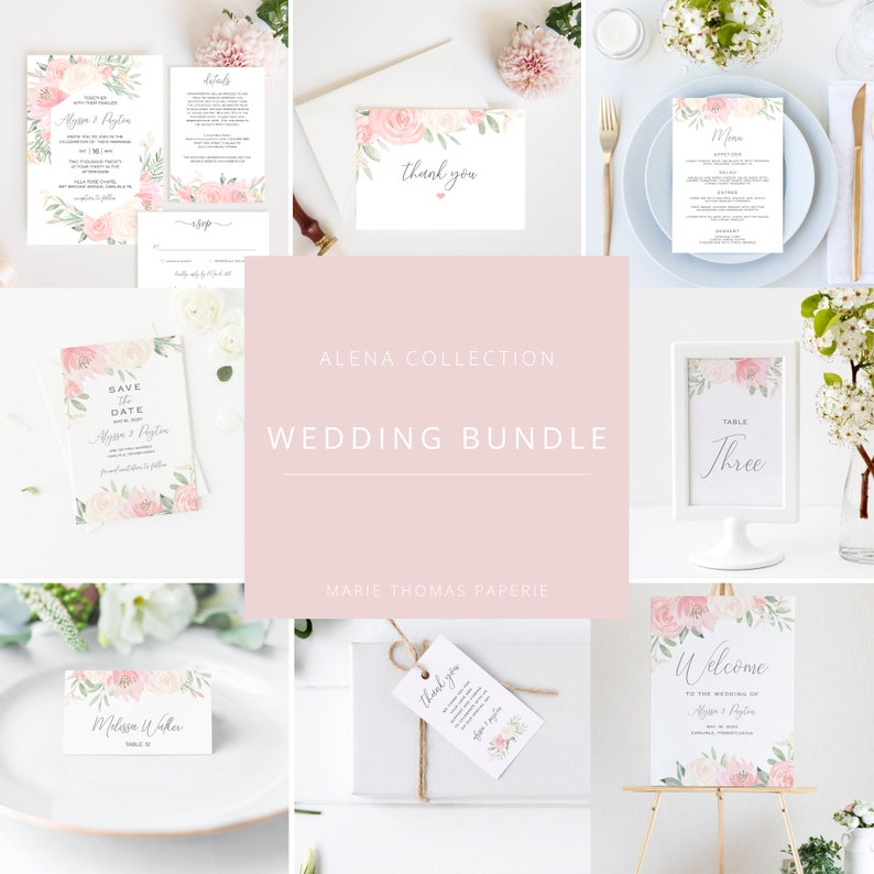 Alena  Blush Floral Wedding Template Bundle Wedding image 0