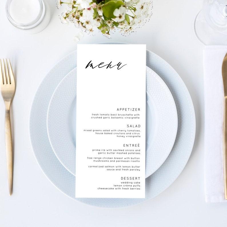 Eva  Wedding Menu Template Simple Modern Wedding Menu Card image 0