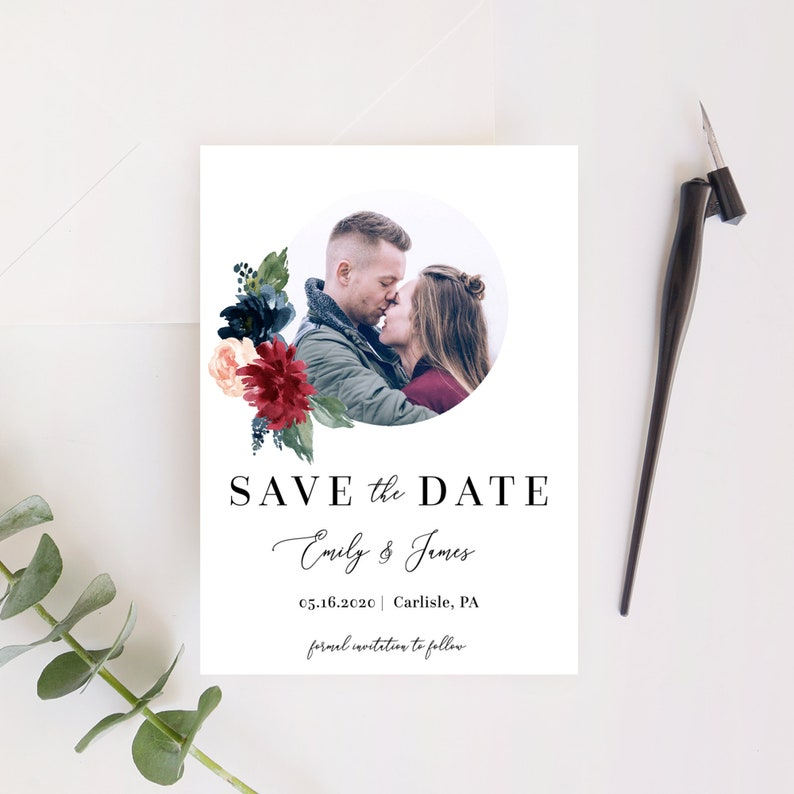 Mara  Save the Date Template with Photo Burgundy Floral Save image 0