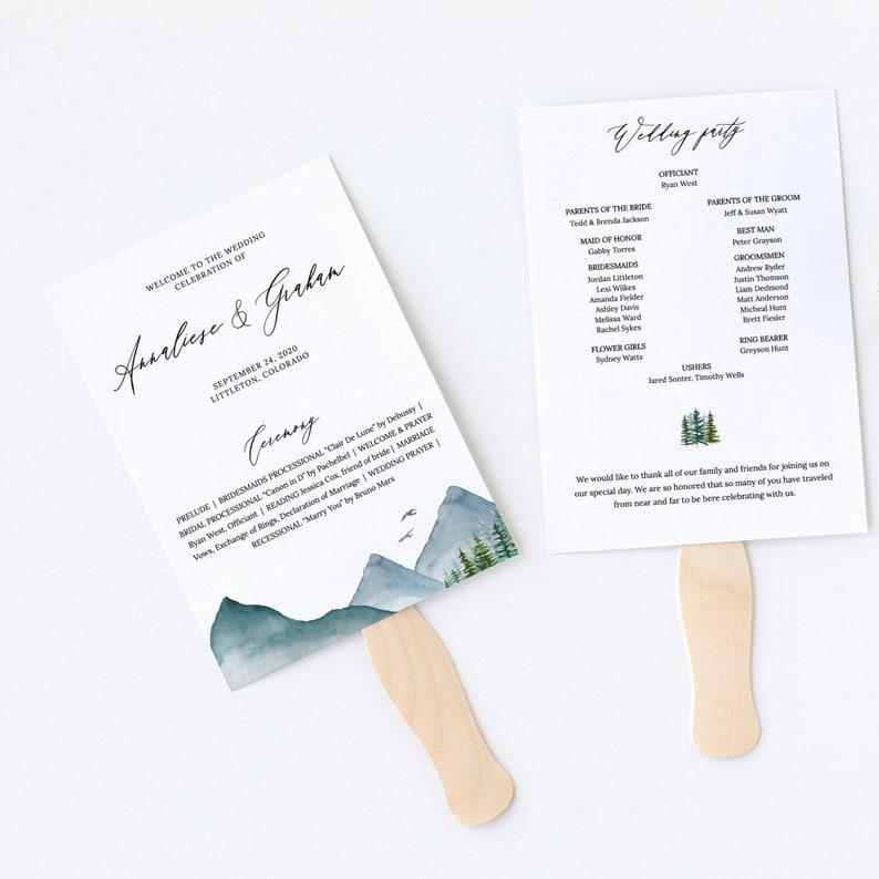 Clara  Mountain Wedding Program Fan Template Rustic Pine image 0