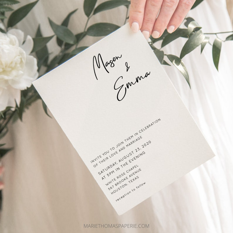 Minimalist Wedding Invitation Template Download Modern image 0