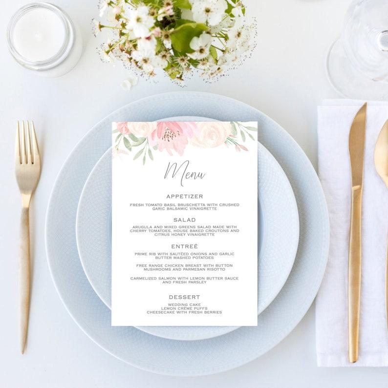 Alena  Wedding Menu Template Blush Pink Floral Wedding Menu image 0