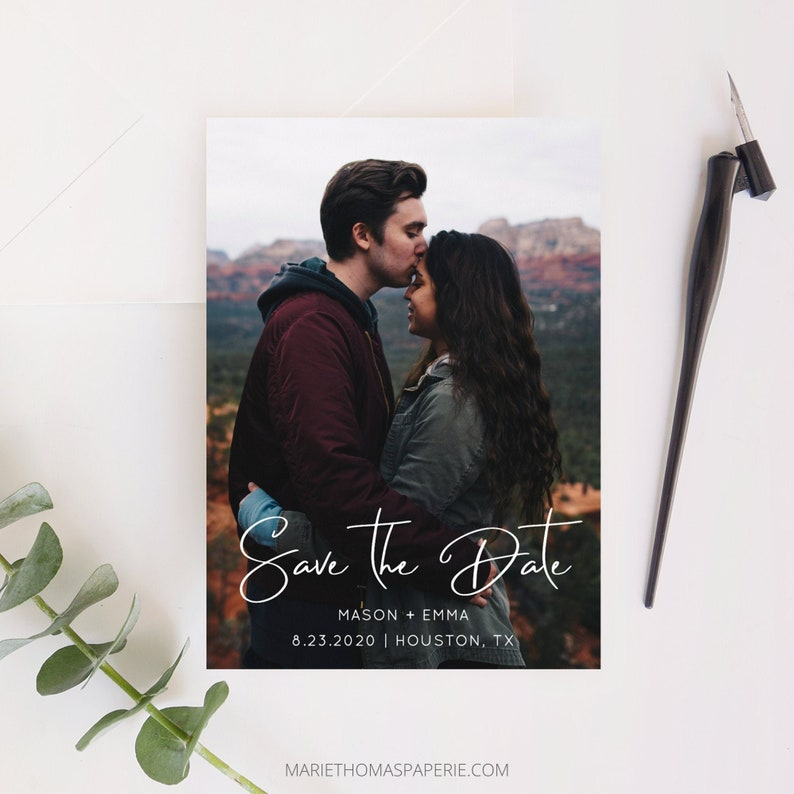 Lillie  Save the Date Template with Photo Simple Script Save image 0