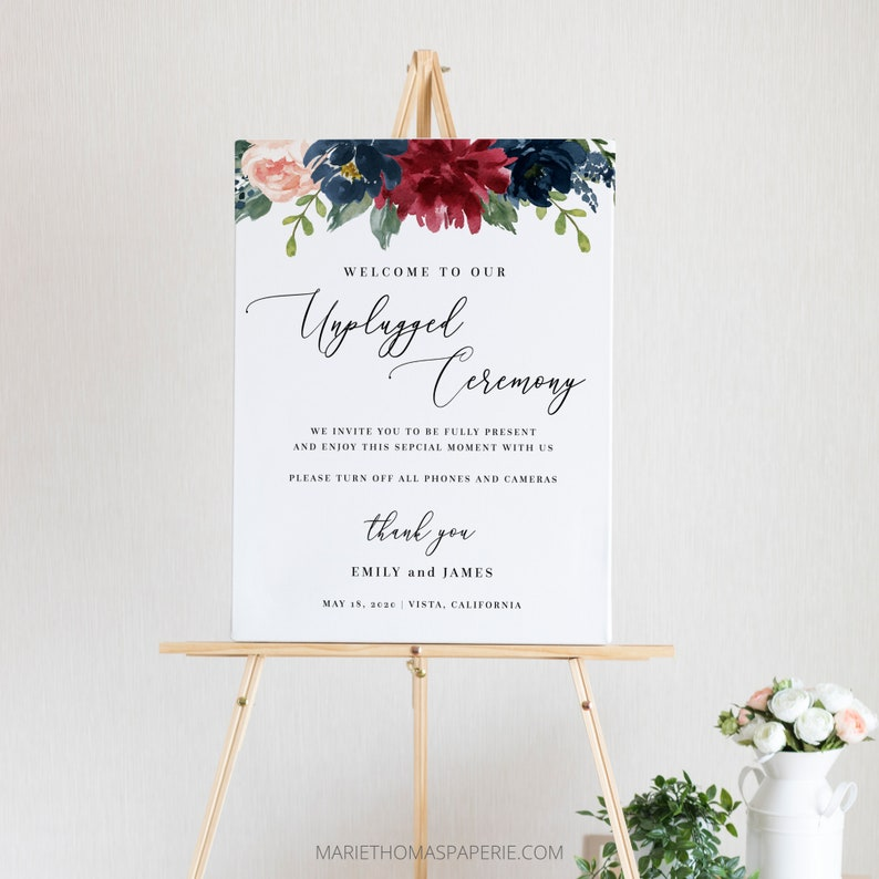 Mara  Unplugged Wedding Welcome Sign Welcome to our Wedding image 0