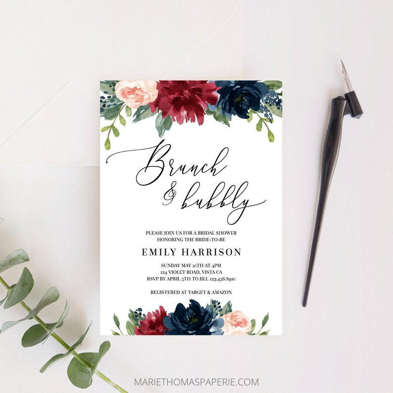 Brunch and Bubbly Bridal Shower Invitation Navy & Burgundy image 0
