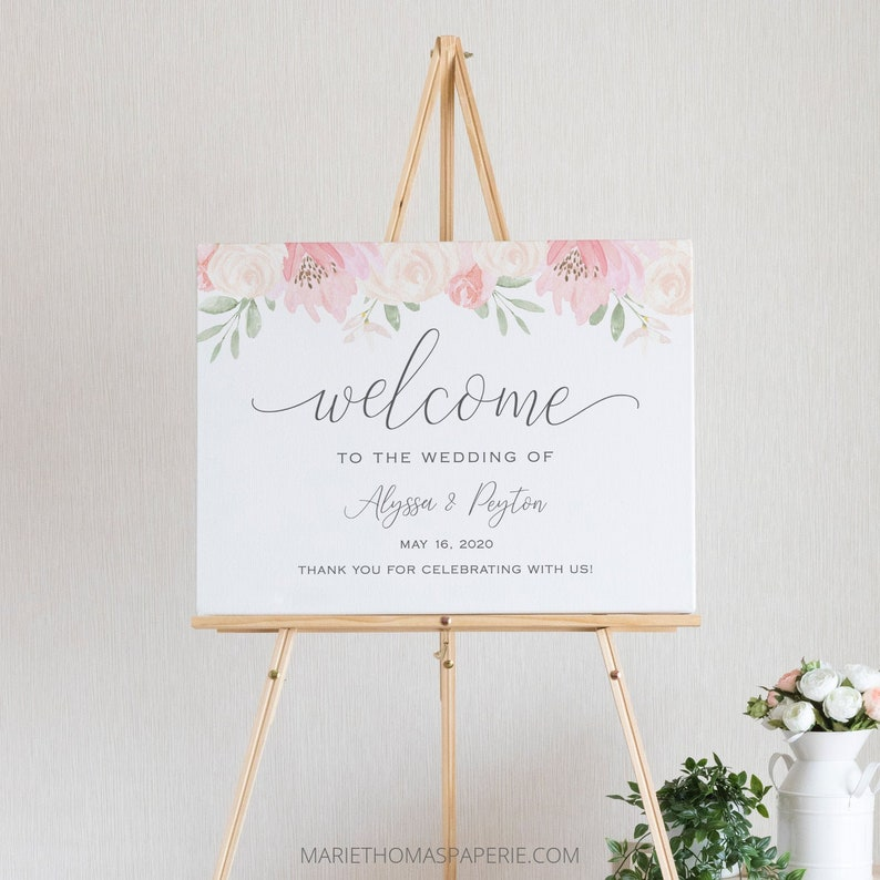 Alena  Floral Wedding Welcome Sign Welcome to our Wedding image 0