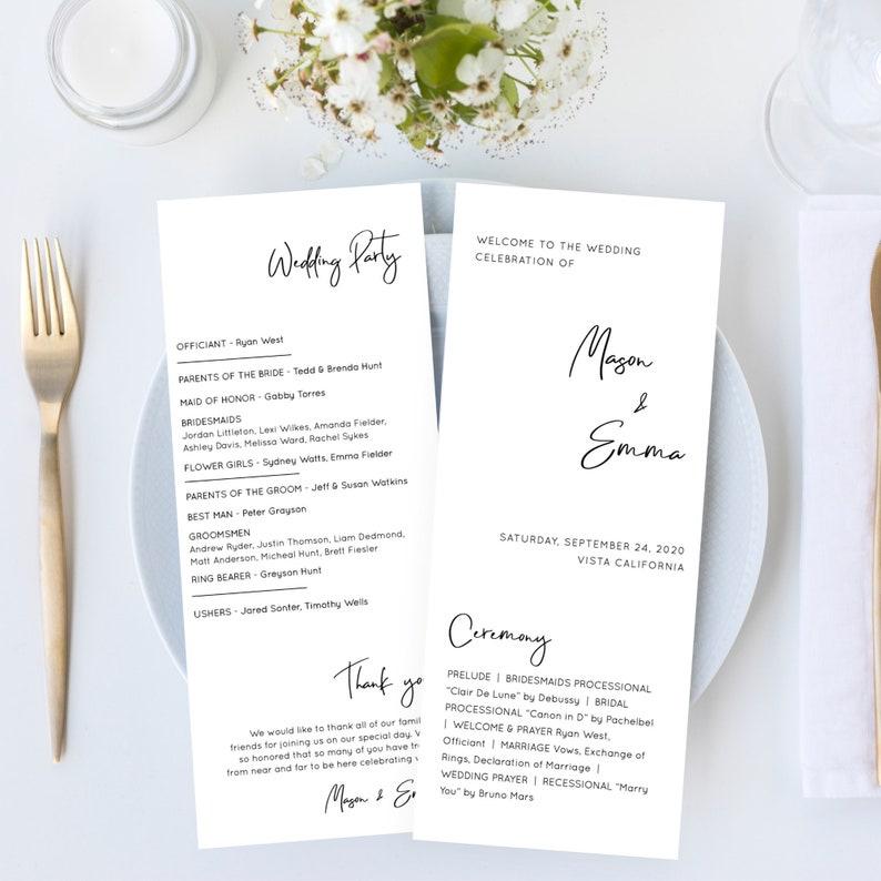 Lillie  Minimalist Wedding Program Template Modern Script image 0