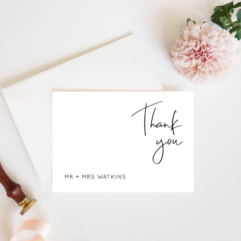 Lillie  Modern Minimalist Wedding Thank You Cards Printable image 0